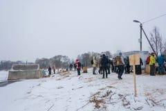 Μια θέση που εξοπλίζεται για το λούσιμο στη γιορτή του Epiphany 20 01 Στοκ εικόνα με δικαίωμα ελεύθερης χρήσης