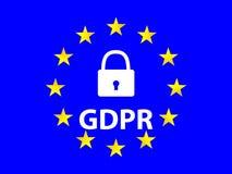 Μια θαυμάσια έννοια του γενικού κανονισμού προστασίας δεδομένων από την Ευρωπαϊκή Ένωση Στοκ Εικόνες