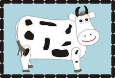 Μια διανυσματική απεικόνιση κινούμενων σχεδίων αγελάδων Στοκ Φωτογραφίες