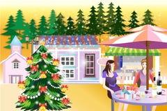 Μια διανυσματική απεικόνιση των γυναικών που απολαμβάνουν την εποχή Χριστουγέννων - απεικόνιση eps10 διανυσματική απεικόνιση