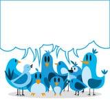 Μια διανυσματική χαριτωμένη ομάδα κινούμενων σχεδίων μπλε πουλιών και πίνακας για το κείμενο Στοκ Εικόνες