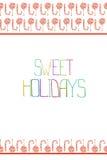 Μια κάρτα με το ριγωτό κόκκινος-λευκό watercolor lollipop, κάλαμος καραμελών Στοκ Εικόνα