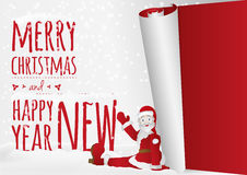 Μια κάρτα Χριστουγέννων με τη συνεδρίαση Santa που κυλά επάνω το παλαιό έτος Στοκ Φωτογραφίες