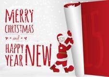 Μια κάρτα Χριστουγέννων με το περπάτημα Santa που κυλά επάνω το παλαιό έτος Στοκ εικόνα με δικαίωμα ελεύθερης χρήσης