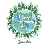 Μια κάρτα watercolor στην ημέρα παγκόσμιου περιβάλλοντος στις 5 Ιουνίου Στοκ εικόνα με δικαίωμα ελεύθερης χρήσης