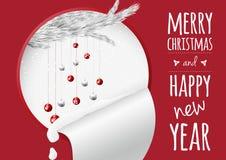 Μια καθιερώνουσα τη μόδα κάρτα Χριστουγέννων με τις σφαίρες και το χτύπημα χιονιού έλατου απεικόνιση αποθεμάτων