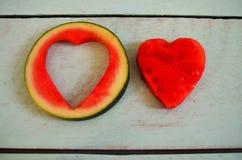 Μια καρδιά στο καρπούζι Στοκ εικόνες με δικαίωμα ελεύθερης χρήσης