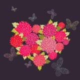 Μια καρδιά και πεταλούδες λουλουδιών Στοκ Εικόνες