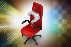 Μια κενή καρέκλα με το ερωτηματικό Στοκ Φωτογραφία