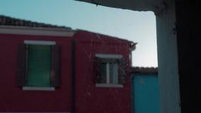 Μια κινηματογράφηση σε πρώτο πλάνο ενός spiderweb σε μια πέτρα που ανοίγει μπροστά από μια θολωμένη πρόσοψη Burano απόθεμα βίντεο