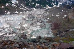 Μια κινηματογράφηση σε πρώτο πλάνο των παγετωδών κατσαρολών στο hyder Στοκ Εικόνες
