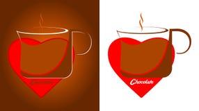 Μια κούπα της σοκολάτας μέσα στην κόκκινη καρδιά απεικόνιση αποθεμάτων
