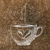 Μια κούπα φλυτζανιών καυτού πίνει τον καφέ, το τσάι, κ.λπ. και φασόλια καφέ Απεικόνιση με ένα υπόβαθρο watercolor για το σχέδιο απεικόνιση αποθεμάτων