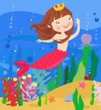 Μια κολύμβηση γοργόνων υποβρύχια στον ωκεανό ελεύθερη απεικόνιση δικαιώματος