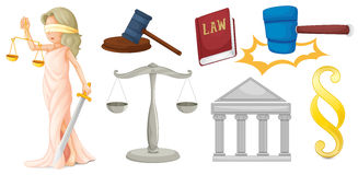 Μια κυρία με τα σύμβολα για τη δικαιοσύνη διανυσματική απεικόνιση