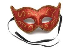Μια κόκκινη colombina μάσκα προσώπου θεάτρων μισή στοκ εικόνες