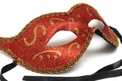Μια κόκκινη colombina μάσκα προσώπου θεάτρων μισή στοκ φωτογραφίες