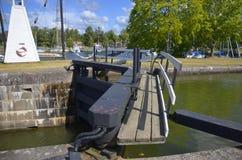 Μια κλειδαριά στο Götakanal σε Sjötorp, Σουηδία Στοκ εικόνα με δικαίωμα ελεύθερης χρήσης