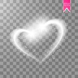 Μια λαμπρή καρδιά λαμπιρίζει σε ένα διαφανές υπόβαθρο Χρυσό υπόβαθρο με τα σπινθηρίσματα Πετώντας αστέρι Χριστουγέννων κατά μήκος Στοκ Εικόνες