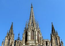 Μια λεπτομέρεια στο μέτωπο του καθεδρικού ναού στη Βαρκελώνη στοκ εικόνες