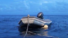 Μια μίνι βάρκα στο νερό απόθεμα βίντεο