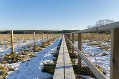 Μια μακριά γέφυρα για πεζούς Στοκ Εικόνα