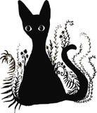 Μια μαύρη γάτα κάθεται στο φύλλωμα Ζώο σκιαγραφιών, στο άσπρο υπόβαθρο Ελεύθερη απεικόνιση δικαιώματος