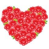 Μια μεγάλη ανθοδέσμη των θαυμάσιων κόκκινων τριαντάφυλλων με μορφή ενός ρομαντικού δώρου καρδιών Α σε αγαπημένο σας την ημέρα βαλ διανυσματική απεικόνιση