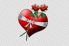 Μια μεγάλη καρδιά με δύο τριαντάφυλλα σκάει την τέχνη! ελεύθερη απεικόνιση δικαιώματος