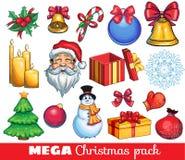 Μια μεγάλη εξάρτηση των συρμένων χέρι εικονιδίων Χριστουγέννων Στοκ Εικόνες