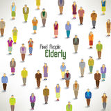 Μια μεγάλη ομάδα ηλικιωμένων συλλέγει το σχέδιο Στοκ Εικόνες