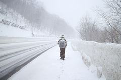 Μια μεγάλη χιονοθύελλα στην περιοχή βουνών χιονιού στο Hokkaido, Ιαπωνία στοκ εικόνα