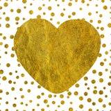 Μια μεγάλη χρυσή καρδιά στο υπόβαθρο των μικρών χρυσών σημείων του διαφορετικού μεγέθους με το διάστημα αντιγράφων Στοκ Φωτογραφία