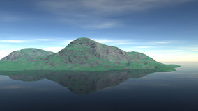 Μια μικρές πράσινες άγρια περιοχές ένα νησί στη λίμνη Στοκ Φωτογραφία