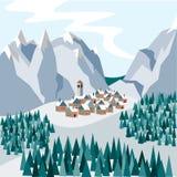 Μια μικρή άνετη πόλη στα χιονώδη βουνά Απεικόνιση στο επίπεδο ύφος ελεύθερη απεικόνιση δικαιώματος
