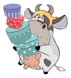 Μια μικρή αγελάδα cartoon ελεύθερη απεικόνιση δικαιώματος
