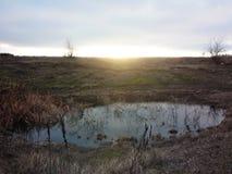 Μια μικρή μόνη λίμνη στη στέπα Στοκ Εικόνες