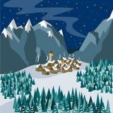 Μια μικρή πόλη στα βουνά την παραμονή των Χριστουγέννων Απεικόνιση στο επίπεδο ύφος απεικόνιση αποθεμάτων