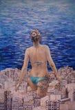 Μια μοναδική ζωγραφική, ένα κορίτσι με τις δερματοστιξίες που βγαίνουν από την πόλη σε μια συνεδρίαση με τη θάλασσα διανυσματική απεικόνιση