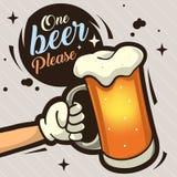 Μια μπύρα παρακαλώ δίνει τη συρμένη καλλιτεχνική απεικόνιση κινούμενων σχεδίων για την αγγελία Στοκ Εικόνες