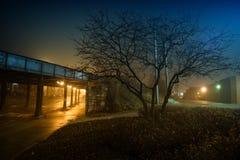 Μια μυστηριώδης και ομιχλώδης νύχτα πόλεων στο αστικό Σικάγο στοκ φωτογραφίες με δικαίωμα ελεύθερης χρήσης