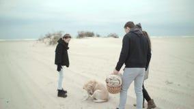 Μια νέα οικογένεια με μια κόρη και ένα σκυλί που περπατούν κατά μήκος της παραλίας σε ένα πικ-νίκ Το σκυλί σταματά και ο καθένας  απόθεμα βίντεο