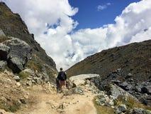Μια νέα ομάδα διεθνών οδοιπόρων, που οδηγείται από τον τοπικό οδηγό Inca τους, πλοηγεί τα βουνά των Άνδεων στοκ εικόνες