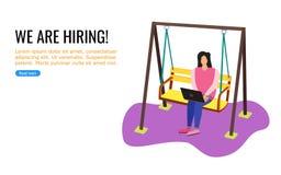 Μια νέα ταλάντευση εργασίας γυναικών wile διανυσματική απεικόνιση
