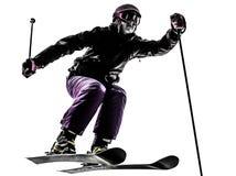 Μια να κάνει σκι σκιέρ γυναικών σκιαγραφία άλματος Στοκ φωτογραφίες με δικαίωμα ελεύθερης χρήσης