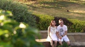 Μια νεολαία συνδέει ερωτευμένο κάθεται σε ένα στηθαίο πετρών στο θερινές πάρκο και τη συζήτηση απόθεμα βίντεο