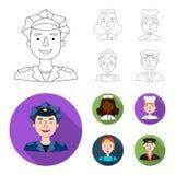 Μια νοσοκόμα, ένας μάγειρας, ένας οικοδόμος, ένας ταξιτζής Άνθρωποι τα διαφορετικά επαγγέλματα καθορισμένα τα εικονίδια συλλογής  ελεύθερη απεικόνιση δικαιώματος