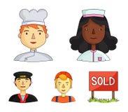 Μια νοσοκόμα σε μια εσθήτα επιδέσμου, ένας μάγειρας σε μια κουκούλα, ένας οικοδόμος σε ένα κράνος, ένας ταξιτζής σε μια ΚΑΠ Άνθρω ελεύθερη απεικόνιση δικαιώματος