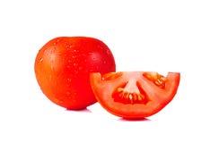 Μια ντομάτα που απομονώνεται στο άσπρο υπόβαθρο Στοκ Φωτογραφία