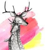 Μια οικογένεια των deers σε ένα υπόβαθρο watercolor Στοκ Εικόνες